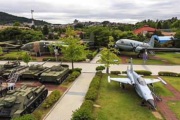 Elevated view of tanks and aircraft, outdoor exhibits at War Memorial of Korea Museum, Yongsan-Gu, Seoul, South Korea, Asia