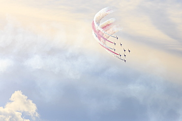 Red Arrows, Royal Air Force aerobatic display team, colourful sky, Derbyshire, England, United Kingdom, Europe