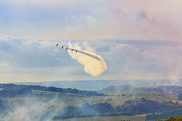 Red Arrows, Royal Air Force aerobatic display team, Peak District National Park, Derbyshire, England, United Kingdom, Europe