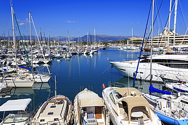 Vieux Port, with many yachts, view to Fort Carre, from Bastion St-Jaume, Antibes, French Riviera, Cote d'Azur, Provence, France, Europe