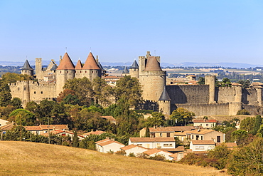 La Cite, historic fortified city, from elevated viewpoint, Carcassonne, UNESCO World Heritage Site, Languedoc-Roussillon, France, Europe