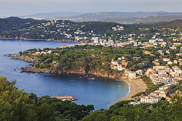 Llafranc and Calella de Palafrugell, fabulous elevated view from Cap de Sant Sebastia, Costa Brava, Girona, Catalonia, Spain, Europe