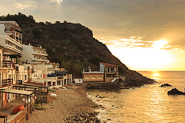 Pebbly cove with fishermen's houses at sunrise, Palamos, Costa Brava, Girona, Catalonia, Spain, Europe
