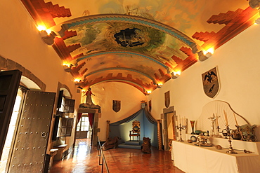 Gala Dali Castle Museum, Coat of Arms room, medieval home and now museum of Salvador Dali, Pubol, Baix Emporda, Girona, Catalonia, Spain, Europe