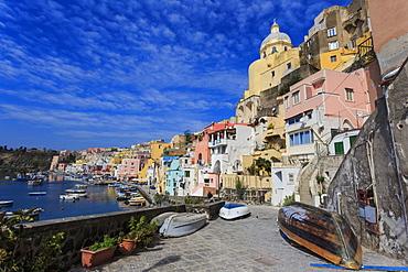 Marina Corricella, pretty fishing village, colourful fishermen's houses, boats and church, Procida Island, Bay of Naples, Campania, Italy, Europe