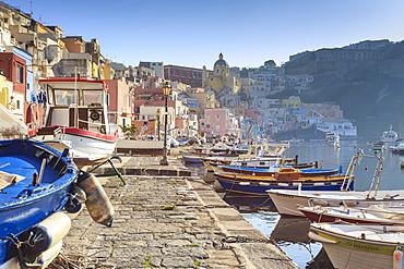 Marina Corricella, pretty fishing village, colourful fishermen's houses, boats and nets, Procida Island, Bay of Naples, Campania, Italy, Europe