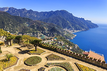Belvedere, stunning Gardens of Villa Rufolo, Ravello, Amalfi Coast, UNESCO World Heritage Site, Campania, Italy, Europe