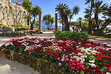 Stunning Gardens of Villa Rufolo in spring, Ravello, Amalfi Coast, UNESCO World Heritage Site, Campania, Italy, Europe