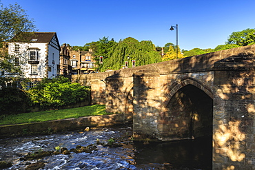Bridge over the River Derwent in early morning light in spring, Matlock, Derbyshire Dales, Derbyshire, England, United Kingdom, Europe