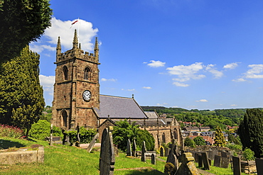 St. Giles Church and rolling hills surrounding Matlock in spring, Derbyshire Dales, Derbyshire, England, United Kingdom, Europe