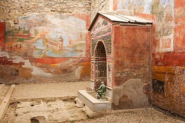 Mosaic and shell fountain, House of the Small Fountain, Roman Pompeii, UNESCO World Heritage Site, near Naples, Campania, Italy, Europe