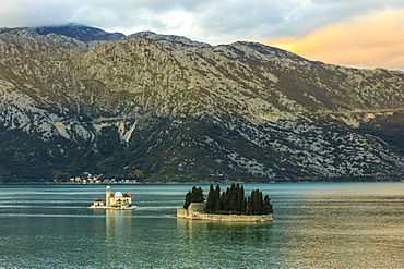 Our Lady of the Rocks and St. George's Islands, sunset, near Perast, Bay of Kotor, UNESCO World Heritage Site, Montenegro, Europe