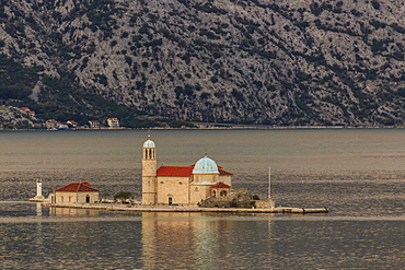 Our Lady of the Rocks island, sunset, near Perast, Bay of Kotor, UNESCO World Heritage Site, Montenegro, Europe