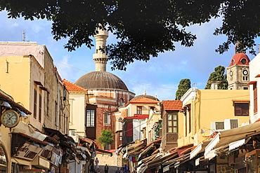 Socrates Street with Suleymaniye Mosque, Medieval Rhodes Town, UNESCO World Heritage Site, Rhodes, Dodecanese Islands, Greek Islands, Greece, Europe