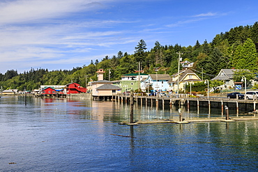 Alert Bay, brightly painted buildings on piles, Cormorant Island, Vancouver Island, Inside Passage, British Columbia, Canada, North America