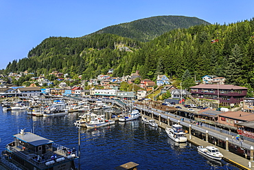 Small boats, town and forest, beautiful sunny summer day, Ketchikan waterfront, elevated view, Southern Panhandle, Alaska, United States of America, North America