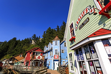 Dolly's House Museum, Creek Street, Ketchikan Creek boardwalk, historic red-light district, sunny day, Ketchikan, Alaska, United States of America, North America