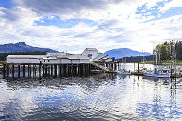 Hoonah, dock and boats, Tlingit Community, Icy Strait Point, summer, Chichagof Island, Inside Passage, Southeast Alaska, United States of America, North America
