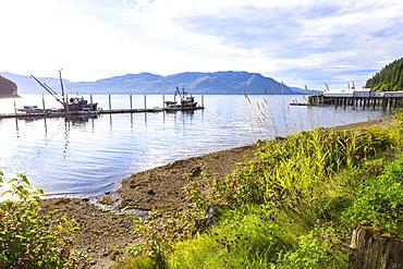 Hoonah, shoreline and dock, Tlingit Community, summer, Icy Strait Point, Chichagof Island, Inside Passage, Southeast Alaska, United States of America, North America