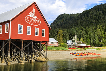 Restored salmon cannery museum and boats, Icy Strait Point, Hoonah, summer, Chichagof Island, Inside Passage, Alaska, United States of America, North America