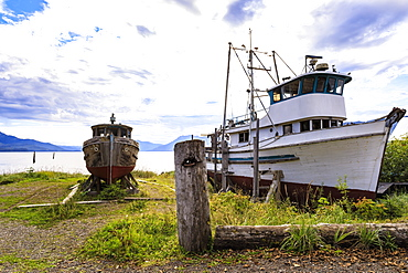 Fishing boats on the shore, Icy Strait Point, near Hoonah, summer, Chichagof Island, Inside Passage, Southeast Alaska, United States of America, North America