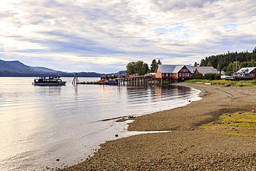 Icy Strait Point, near Hoonah, shore, cannery museum, dock and whale watch boat, summer, Chichagof Island, Alaska, United States of America, North America