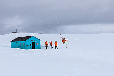 Expedition ship visit, Damoy Hut, former British Air Transit Facility, Historic Monument, Dorian Bay, Wiencke Island, Antarctica, Polar Regions