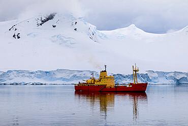 Chilean naval supply vessel, Almirante Oscar Viel, delivers Summer team, Gonzalez Videla Station, Waterboat Point, Antarctica
