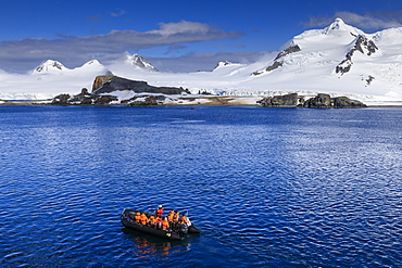 Zodiac boat, expedition tourists, landing beach, Half Moon Island, Livingston Island view, South Shetland Islands, Antarctica, Polar Regions