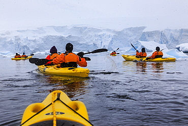 Expedition tourists kayaking in cold, snowy weather, with icebergs, Chilean Gonzalez Videla Station, Waterboat Point, Antarctica, Polar Regions