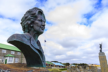 Margaret Thatcher bronze statue, 1982 Falklands War Memorial, Liberation Monument, Stanley, Port Stanley, Falkland Islands, South America