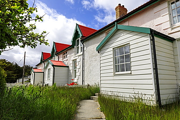 Historic Marmont Row, white seafront house, Victory Green, Stanley, Port Stanley, Falkland Islands, South America
