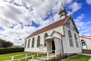 Traditional white wooden church, British Flag, Central Stanley, Port Stanley, Falkland Islands, South America