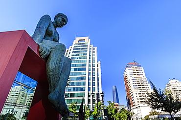 Huge sculpture, prestigious El Golf area, view to Sanhattan and Gran Torre Santiago, Las Condes, Santiago, Chile, South America
