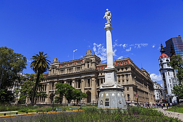 Statue and Palacio de Justicia, Supreme Court home, leafy Plaza Lavalle, Congreso and Tribunales, Buenos Aires, Argentina, South America