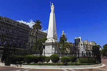 Piramide de Mayo white obelisk, blue sky, Plaza de Mayo, The Center, Buenos Aires, Argentina, South America