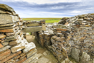 Broch of Gurness interior, Iron Age complex, prehistoric settlement, Eynhallow Sound, Orkney Islands, Scotland, United Kingdom, Europe