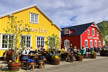 Busy, colourful cafes, Siglufjordur, (Siglufjorour), stunning Summer weather, northernmost town of the mainland, North Iceland, Europe