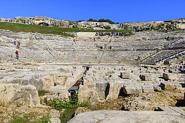 Teatro Greco (Greek Theatre), the Greek Amphitheatre at Syracuse (Siracusa), UNESCO World Heritage Site, Sicily, Italy, Europe