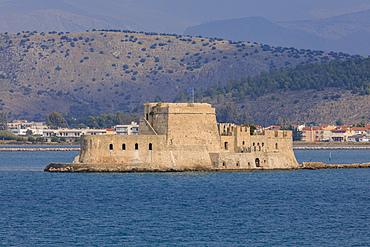 Sunlit Venetian Bourtzi Fortress, island, Nafplio (Nafplion), near Argos, Argolic Gulf, eastern Peloponnese, Greece, Europe