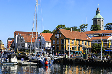 Vagen inner harbour, yacht, waterfront, blue sky in summer, Stavanger, Rogaland, Norway, Scandinavia, Europe