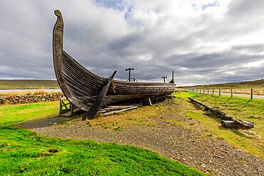 Replica Viking longship, Skidbladner, Haroldswick, Island of Unst, Shetland Isles, Scotland, United Kingdom, Europe