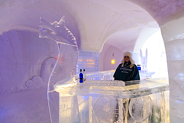 Sorrisniva Igloo Hotel, snow or ice hotel, striking sculpture, ice bar in winter, Alta, Finnmark, Arctic Circle, North Norway, Scandinavia, Europe