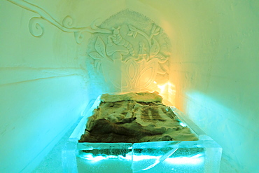 Sorrisniva Igloo Hotel, snow or ice hotel, ice suite, striking sculpture, Alta, Finnmark, Arctic Circle, North Norway, Scandinavia, Europe