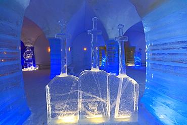 Sorrisniva Igloo Hotel, snow or ice hotel, striking sculpture in lobby, Alta, Winter, Finnmark, Arctic Circle, North Norway, Scandinavia, Europe