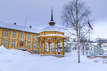 Radstua theatre former town hall, music pavilion, deep snow in winter, Tromso, Troms, Arctic Circle, North Norway, Scandinavia, Europe