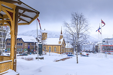 Tromso after heavy snow, music pavilion, Catholic Cathedral and Arctic Cathedral in winter, Troms, Arctic Circle, North Norway, Scandinavia, Europe