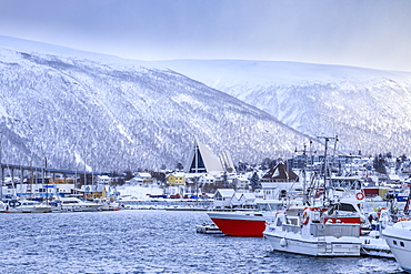 Tromso, small boat harbour, fjord, bridge, Arctic Cathedral, after heavy snow in winter, Troms, Arctic Circle, North Norway, Scandinavia, Europe