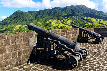 Citadel cannons, Brimstone Hill Fortress National Park, UNESCO World Heritage Site, St. Kitts, St. Kitts and Nevis, Leeward Islands, West Indies, Caribbean, Central America