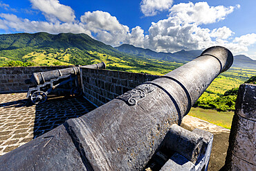 Cannons, royal insignia, Brimstone Hill Fortress National Park, UNESCO World Heritage Site, St. Kitts and Nevis, Leeward Islands, West Indies, Caribbean, Central America